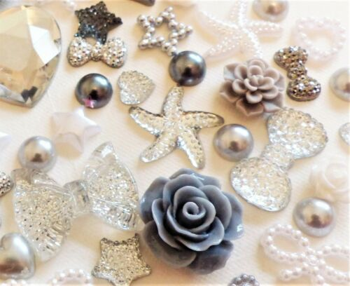 Silver Dove Grey Resin Roses Bow Pearl Rhinestone Heart Star Flat-Back Craft Mix