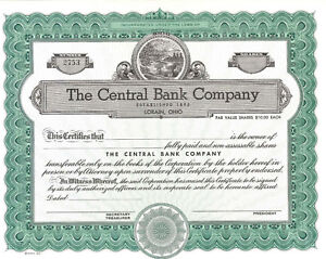 The Central Bank Company > Lorain Ohio stock certificate