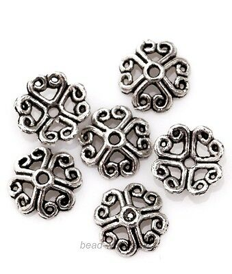 50pcs New hot Tibetan Silver Flower Shape Bead Caps for Jewelry Making 8mm