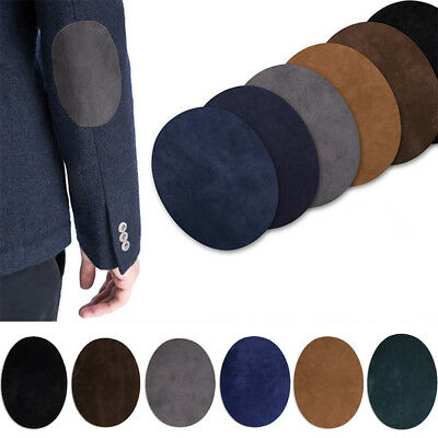 2x Suede Leather Iron-on Oval Elbow Knee Patches DIY Repair Sewing Applique AQ