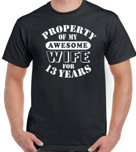 My Awesome Wife Mens Funny 13th Wedding Anniversary T-Shirt Gift 13 Year Husband