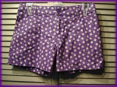 "SO Girl's Floral Casual Shorts (16) Purple & White Daisy Dots 28"" waist 36"" hips"