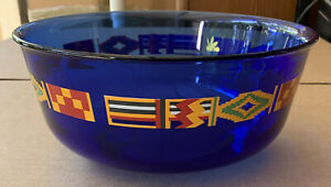 Vintage Avon Cobalt Blue Kente Pattern Glass Salad / Serving Bowl Arcoroc France
