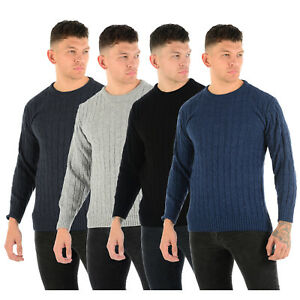 MENS-CABLE-KNIT-JUMPER-CHUNKY-KNIT-PLAIN-PULL-OVER-THICK-WINTER-CLASSIC-SWEATER