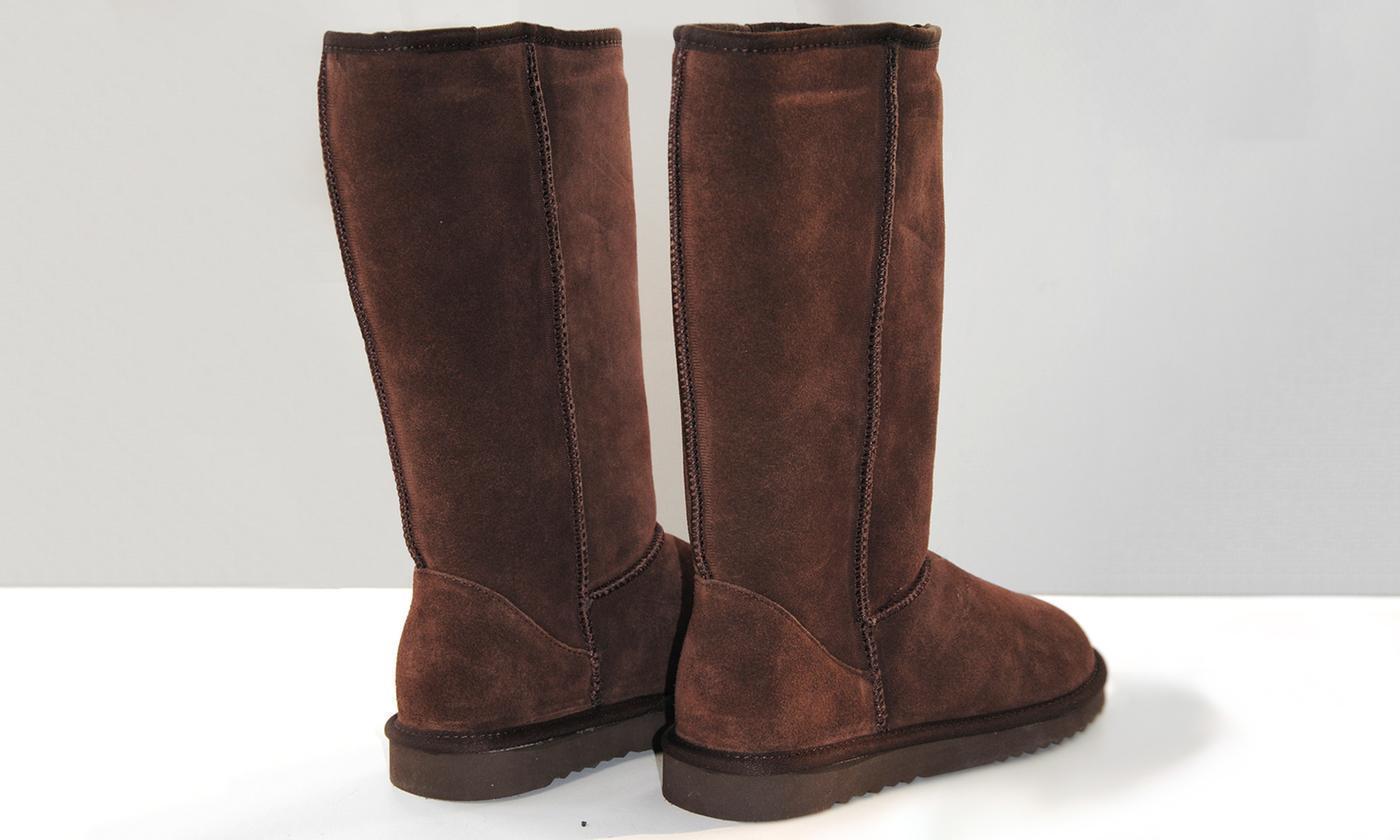 Sinly Women's Brown Warm Fur Lined Nubuck Pull On Flat Long Boots UK 7.5 Eu41