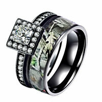 Camo Black Wedding Rings 2 Piece Engagement Set 925 Sterling Silver & Titanium