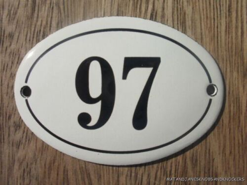 SMALL ANTIQUE STYLE ENAMEL DOOR NUMBER 97 SIGN PLAQUE HOUSE NUMBER SIGN