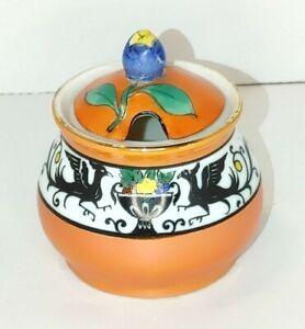 Vintage-Made-in-Japan-Sugar-Bowl-Orange-Birds-Flowers-Cherry-Blossom-Mark