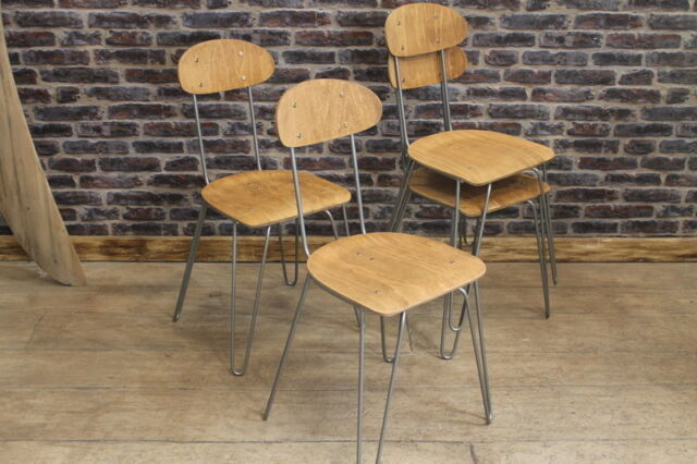 INDUSTRIAL VINTAGE STYLE STACKING CHAIR WITH HAIRPIN LEGS THE ISLINGTON CHAIR