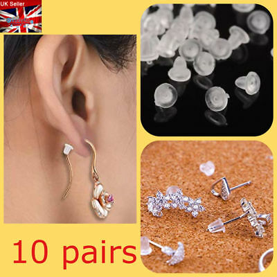 10 Pair Silicone Clear Earring Backs Safety Bullet Ebay