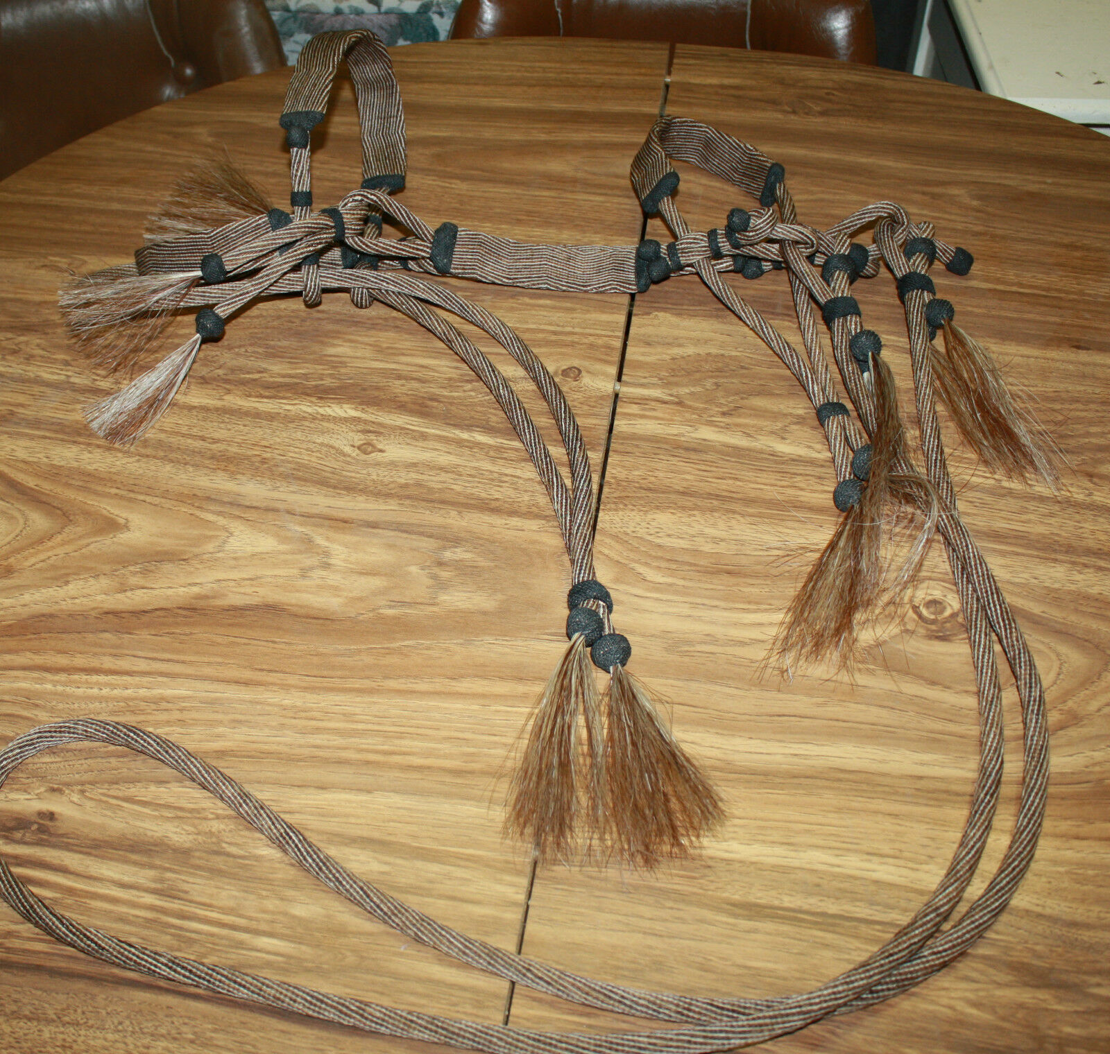 MONTANA STATE PRISON MADE HITCHED HORSE HAIR BRIDLE HEADSTALL NEW