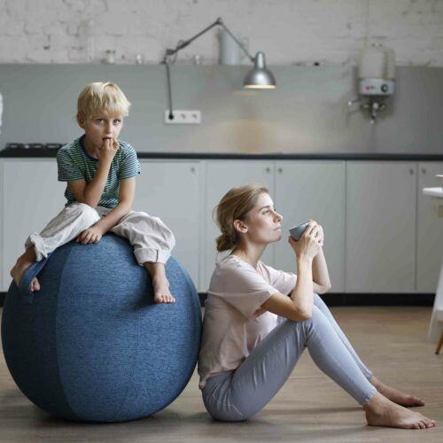Vluv Stov Stoff Sitzball Durchmesser 60-65 cm Dunkelgrau Büroball Gymnastikball