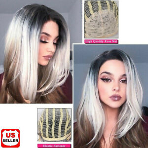 Full-Synthetic-Ombre-Gray-Linen-Hair-Straight-Women-Wigs-with-Rose-net-18-034-Long