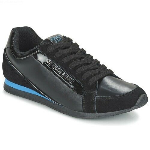 BRAND NEW VERSACE JEANS MEN'S COATED SUEDE SNEAKER TRAINERS E0YOBSA2 - BLACK