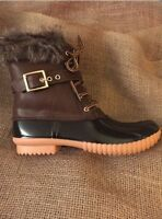 Women's Fur Lined Brown Duck Boots With Side Zipper Size 7