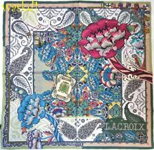 CHRISTIAN LACROIX coats of Arms blue LONDON BIG BEN print silk scarf NWT Authent