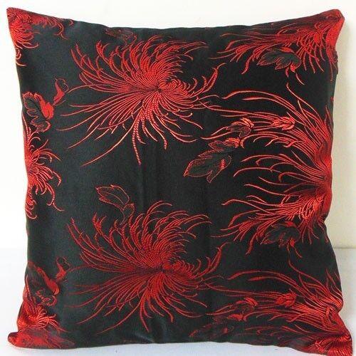 Cushion Cover (Large Red Chrysanthemum on Black )Custom Made, Chinese Brocade
