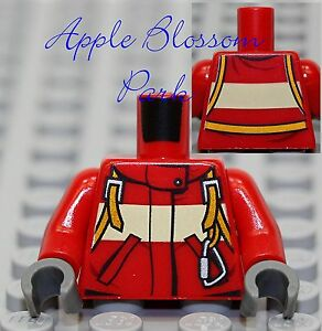 NEW-Lego-Rescue-Fire-Fighter-MINIFIG-TORSO-Red-Harness-Jump-Suit-w-Carabiner