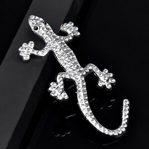 1x-Auto-Aufkleber-3D-Chrom-Emblem-Gecko-Eidechse-Logo-Metall-Silber-Farbe-B3P3