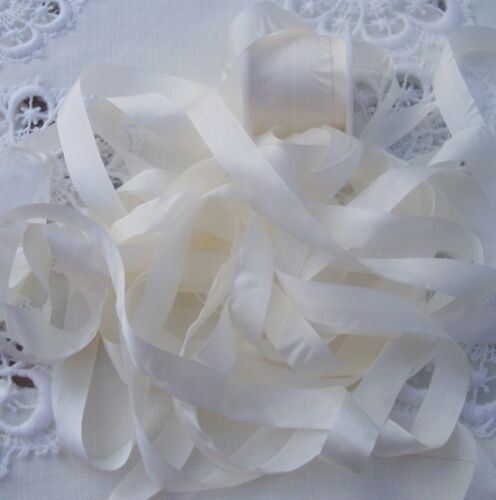 "10 YRD SPOOL 100/% PURE SILK  RIBBON  NATURAL//WHITE 1//2/"" 13MM"