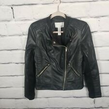 Bar 111 Womens Size Small Faux Leather Moto Jacket Coat Zippers