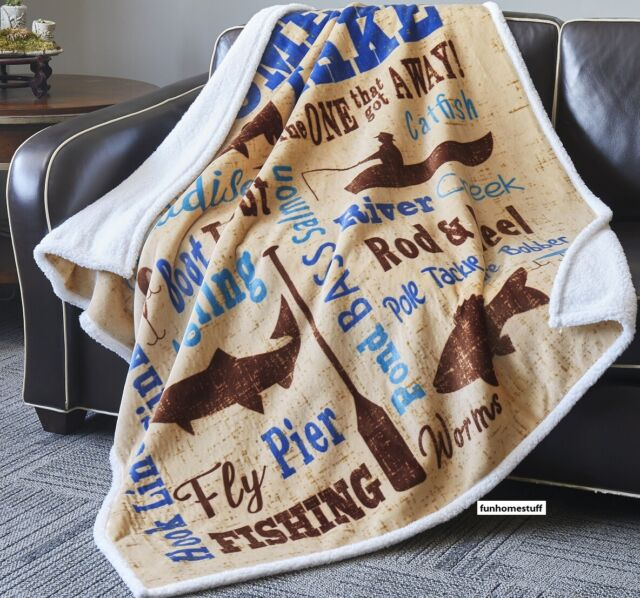 LAKE and LODGE 50x60 SHERPA QUILT THROW CABIN BEAR DEER FISH BLUE BLANKET