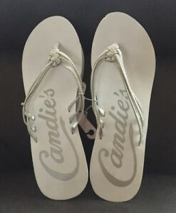 3ab752c55cd7 Image is loading CANDIES-Sandals-Flip-Flops-White-Silver-Strap-Size-