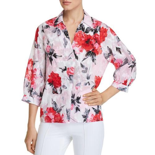 Karl Lagerfeld Paris Womens Pink Floral Print Pullover Top Blouse XXS BHFO 1913