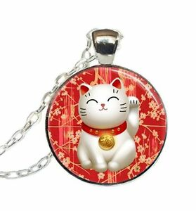 New maneki neko pendant necklace japanese lucky cat red chinese good image is loading new maneki neko pendant necklace japanese lucky cat aloadofball Image collections