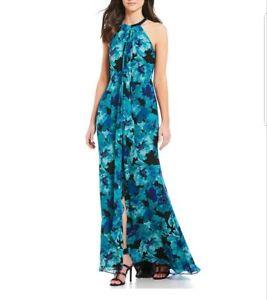 156ab240f49 Details about Calvin Klein Floral Print Draped Chiffon Halter Maxi Gown  Black Multi Size 14
