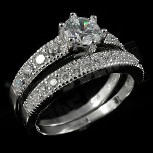 .925 Sterling Silver 18k White Gold 2 Piece Band Wedding CZ Womens Ring Set