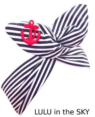 Nautical Sailor Navy Blue & White Stripe w/ Red Anchor Rockabilly wire headband