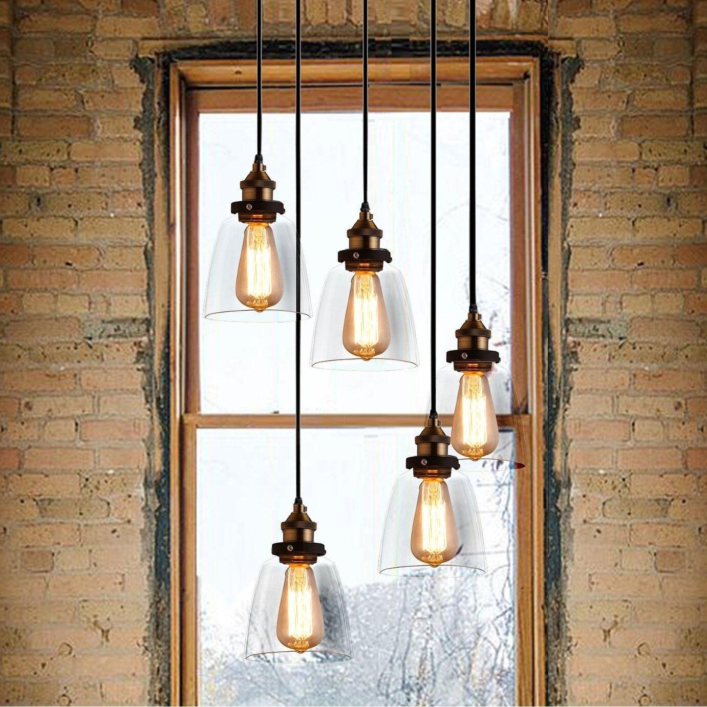 5-Light Adjustable Cord Edison Chandelier, Vintage Industrial w Staggerot Bulbs