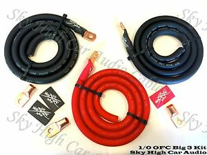 Sky High Oversized 1/0 Gauge OFC AWG Big 3 Upgrade RED/BLACK Electrical Wiring