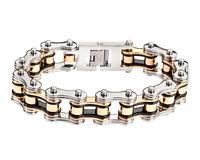 Men's Stainless Steel Double Link Silver Gold Bike Chain Bracelet Usa Seller
