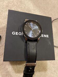 Geoffrey Beene Mens Blue Face Sleek Strap Watch One Size Blue/black