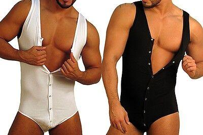 DOREANSE Mens Bodysuit Brief Leotard Cotton Modal T-Shirt Body Suit underwear