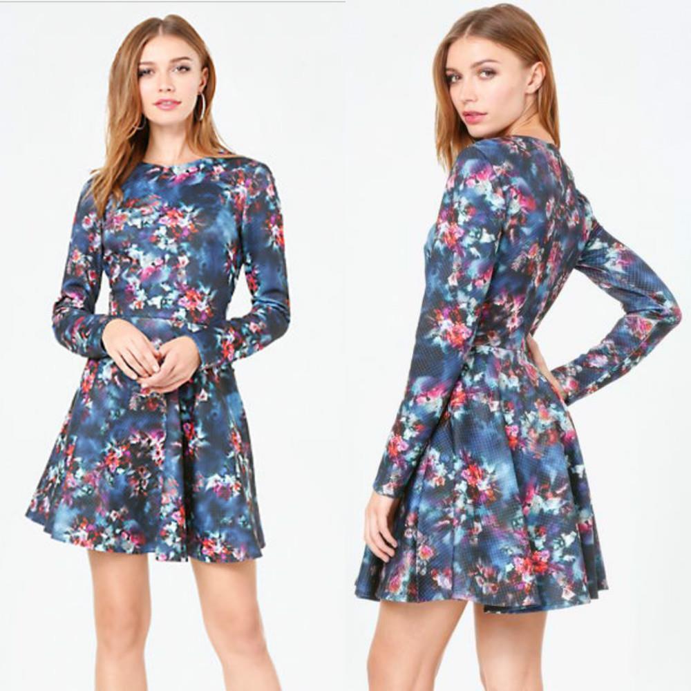 BEBE Blau FLORAL PRINT JACQUARD FIT FLARE  DRESS NWT NEW  XSMALL XS