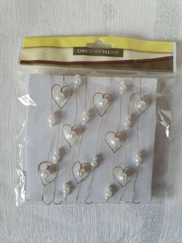 Decosphere Gold Heart and Pearl Craft Wire Christmas 1.8 metres