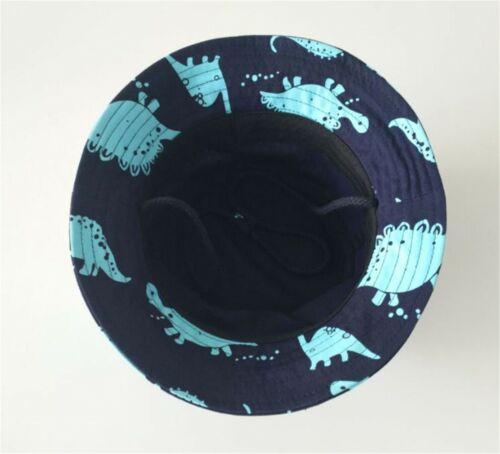 Boys Kids Children Cotton Travel Dinoasaur Navy Bucket Sun Hat Cap strap 1-5yr