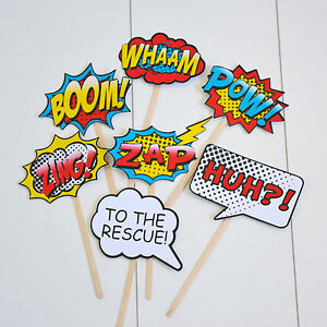 Details about 7Pcs Photo Booth Photobooth Birthday Props Super Heroes Kids  Party Prop DIY