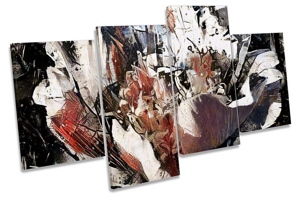 Grunge Abstract Flower MULTI CANVAS WALL ARTWORK Print Art