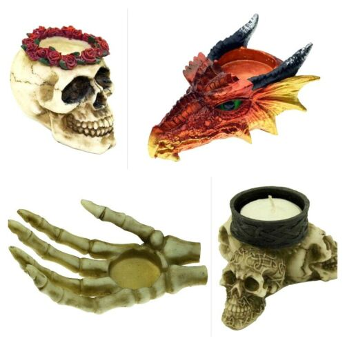 Skull Roses Skeleton Dragon Tea light Candle Holder Ornament Gothic Wicca Gothic