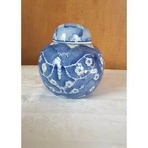 Chinese-Blue-and-White-Floral-and-Butterfly-Ginger-Jar