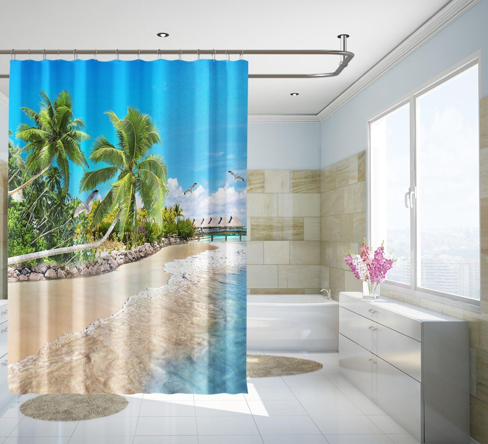 3D 3D 3D Beach Nature 141 Shower Curtain Waterproof Fiber Bathroom Home Windows Toilet f4595c