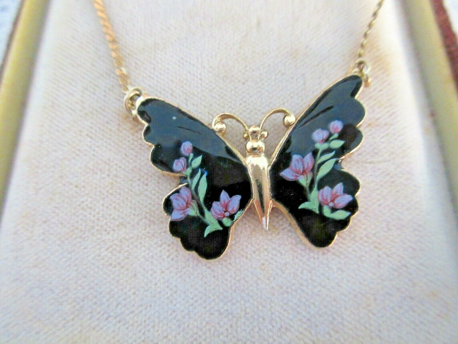 1928 BRAND NECKLACE BUTTERFLY ENAMEL BLACK MAUVE FLOWERS GOLD CHAIN BOXED