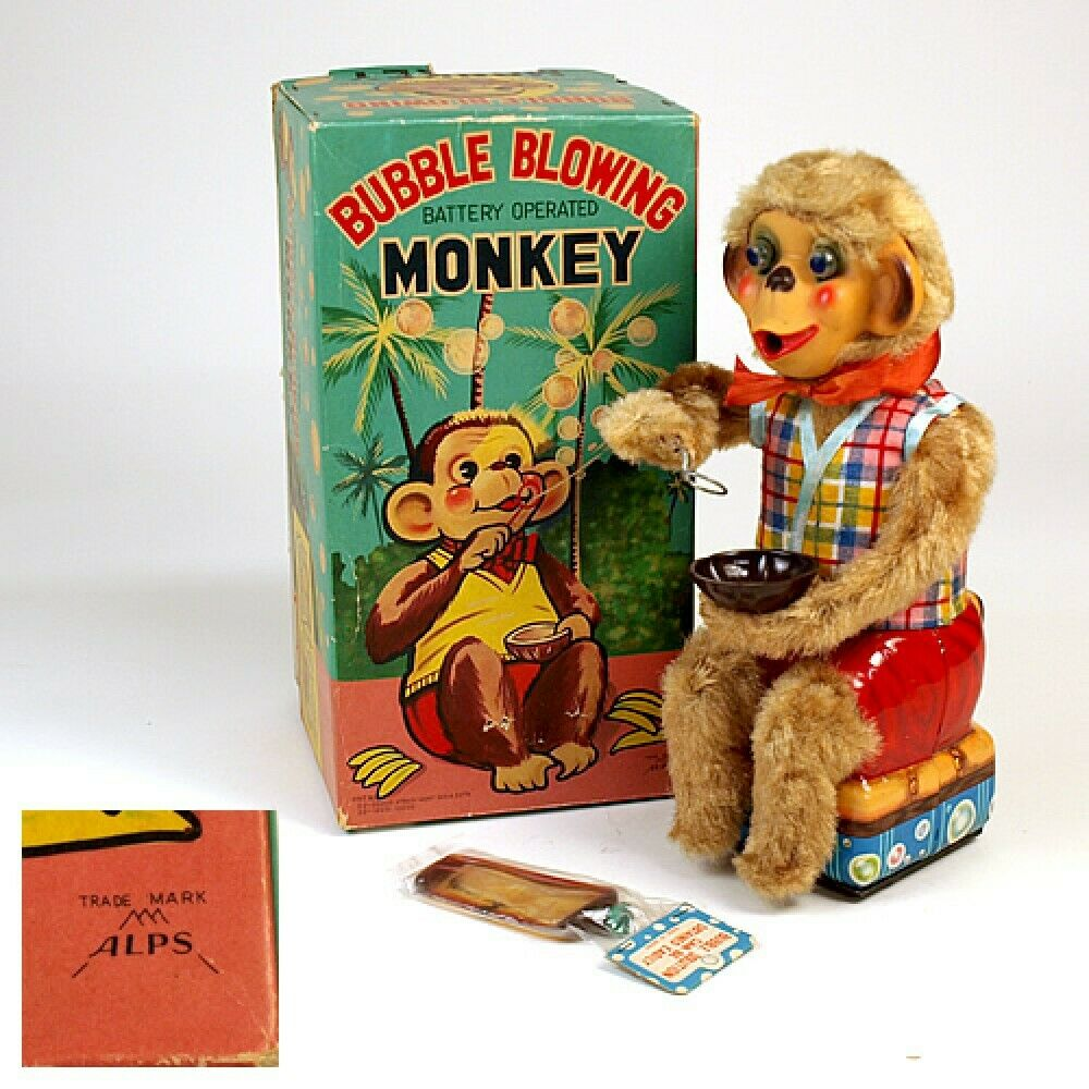 ALPS ALPS ALPS Tin Battrey Operated Toy BUBBLE BLOWING MONKE with box Made in Japan F S f2f603