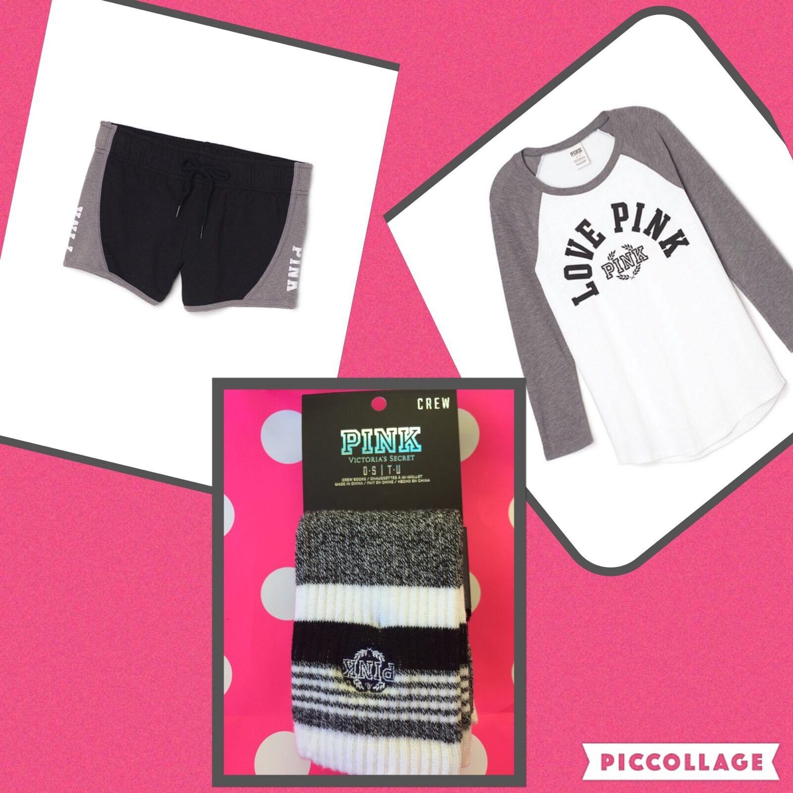 NEW VICTORIA'S SECRET Rosa BASEBALL TEE SHIRT & SHORTS Socks SET S Outfit schwarz