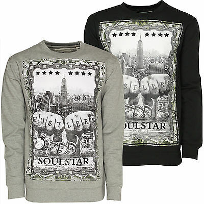 Mens Sweatshirt Soulstar New York City Skyline Dollar Hustlers Hip Hop Urban Top