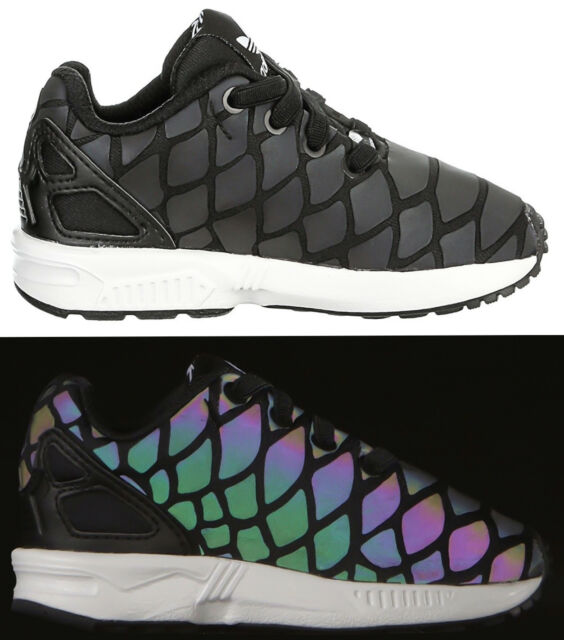 brand new 757ee 8f98d adidas Originals Boys Infants Kids ZX Flux Xeno Reflective Snake Trainers  New